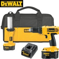 HEAVY DUTY 14.4V COMPACT DRILL AND FLUORESCENT LIGHT KIT