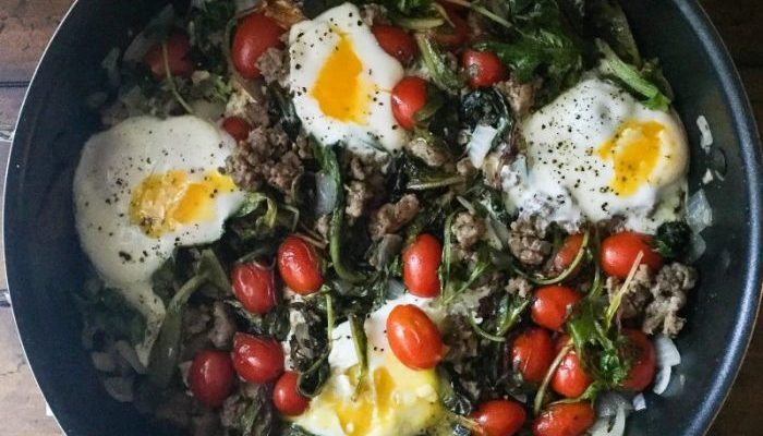 Sausage, Tomato, & Mixed Greens Breakfast Skillet