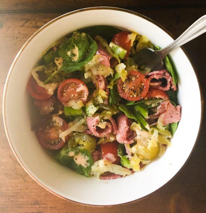 Pastrami-Sandwich Salad w/ Reuben-Style Vinaigrette