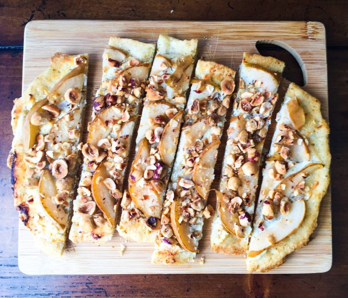 Gluten-Free Pear, Hazelnut, & Goat Cheese Flatbread (w/ Namaste Foods)