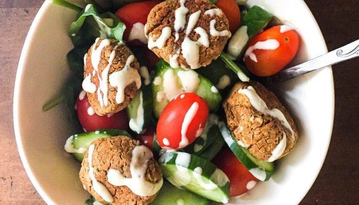 Gluten-Free Falafel Salad w/ Lemon-Tahini Dressing