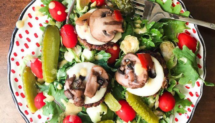 Mini Mushroom Swiss Burger Salad