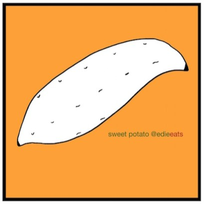 Oven roasted glazed sweet potato - Recipe and Illustration by edie eats by Edith Dourleijn