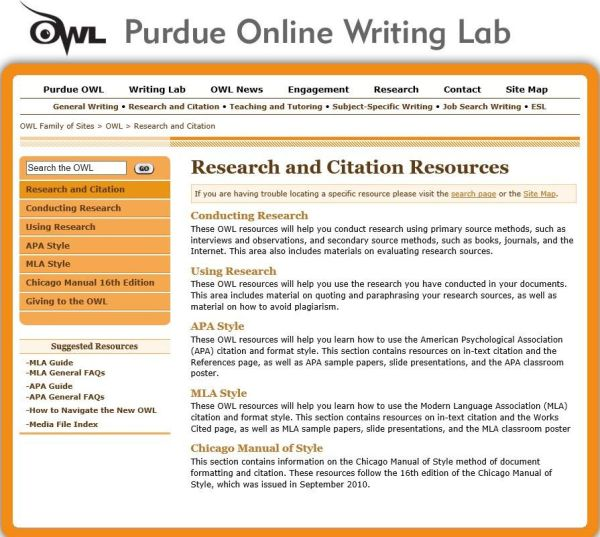 , Purdue University OWL Online Writing Lab's website page on Research and Citation Resources