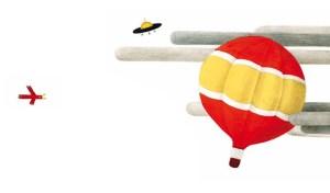 Illustration d'enfant d'une montgolfière