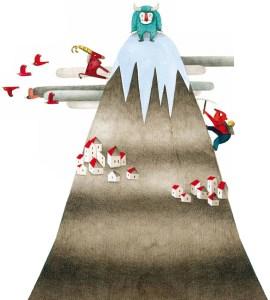 Montagne imaginaire dessinée dans un livre pour jeunes enfants