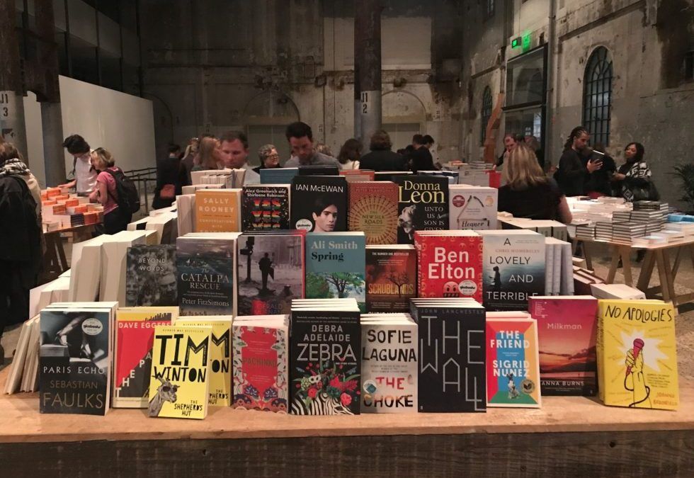 Piles of books at the Sydney Writers' Festival