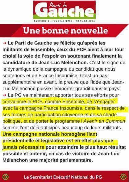 Le Parti de Gauche salue notre ralliement à Mélenchon, mais ...