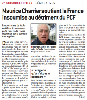 François Bailly-Maitre (PCF) réagit aux propos de l'ancien maire de Vaulx-en-Velin