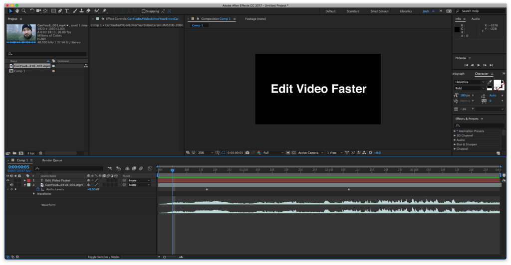 Audio Levels and Waveform Properties in After Effects will Change Volume Levels