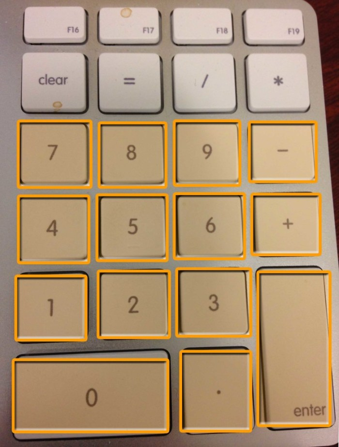 Number pad with keys highlighted that are used for moving in Avid