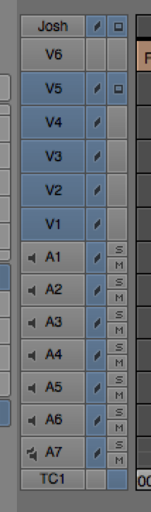 Tracks Selected vs. Deselected in Avid Media Composer