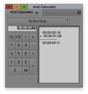 Calculator in Avid