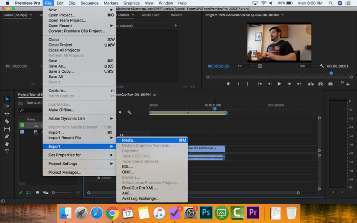 Menu in Premiere Pro to export Media