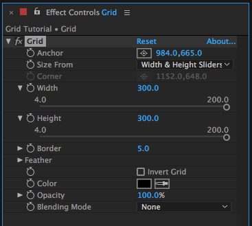 Grid Effect Controls in After Effects