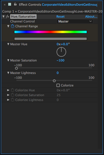 Hue/Saturation Effect Controls in After Effects to Make Clip Black and White