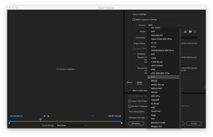 Export Settings in Premiere Pro showing the Format Dropdown so you can select MP3