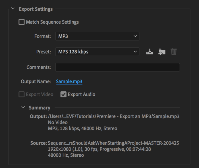 Export Settings After Changing Output Name