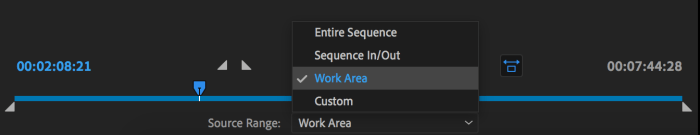 Choosing the area to Export in Premiere Pro