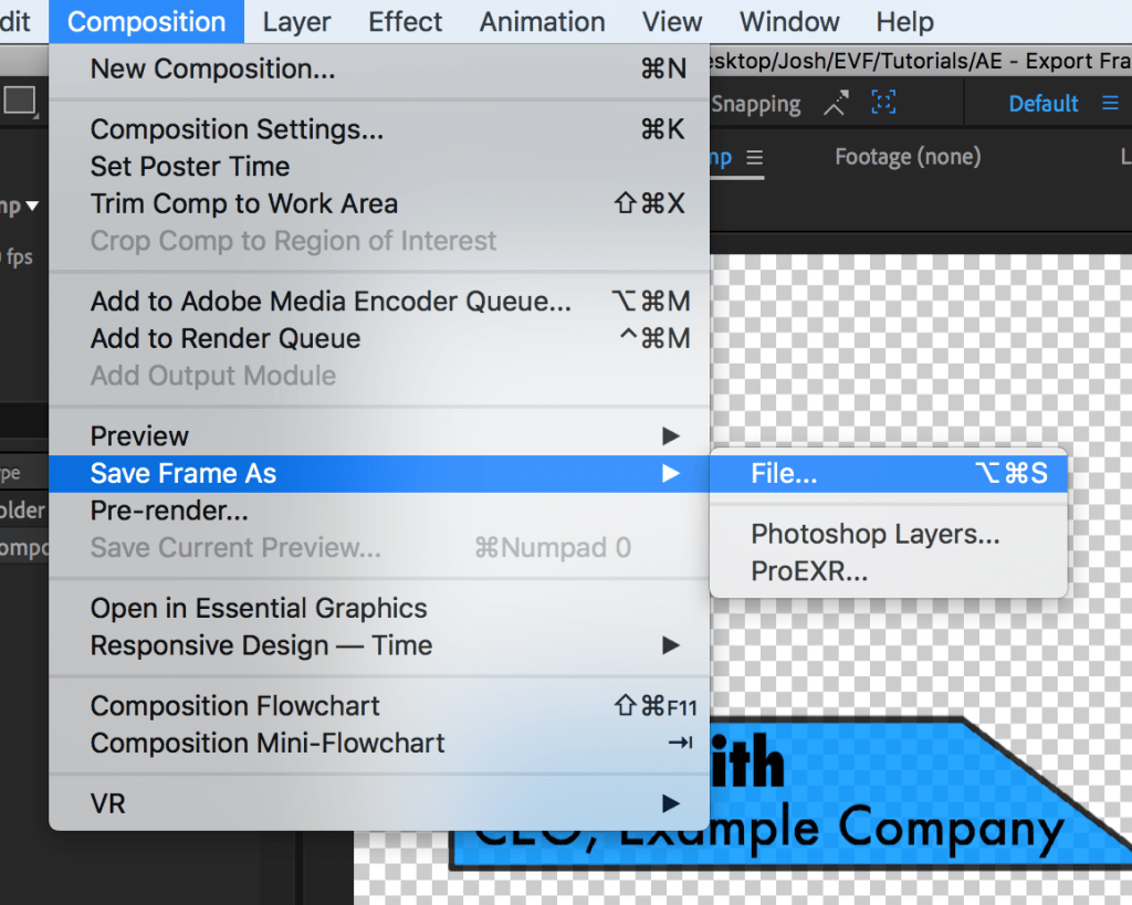Composition Menu in After Effects with Save Frame As and File... selected