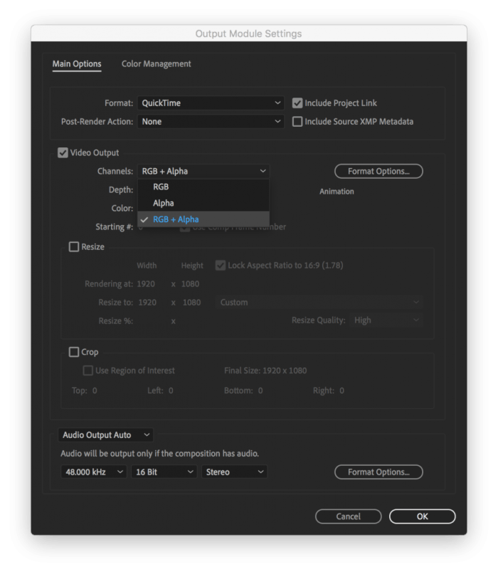Output Module Settings for a QuickTime movie with an Alpha Channel in After Effects
