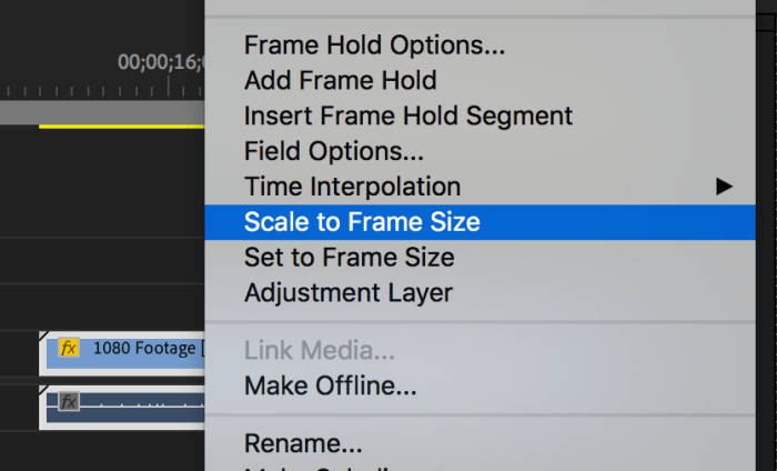 Clip menu in Premiere Pro with Scale to Frame Size highlighted