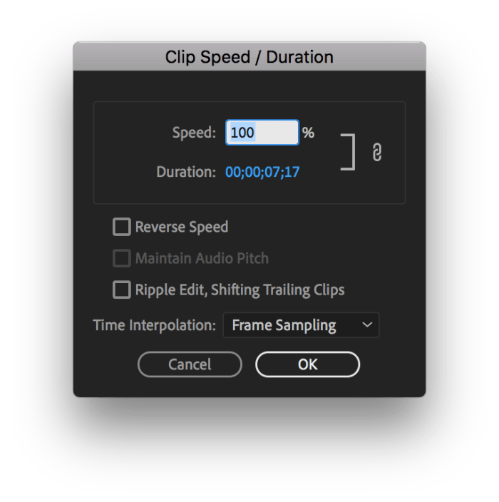 Speed/Duration Tool in Premiere to change the speed of a video