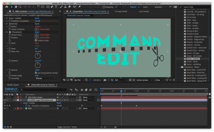 Transition applied to layer using After Effects Animation Presets Transitions