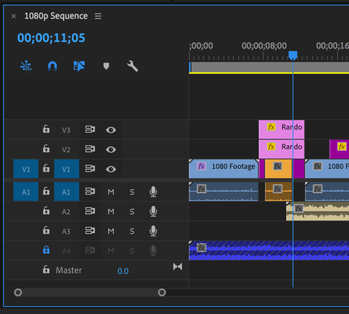 Timeline panel in Premiere Pro with a clip overwrite edited into it