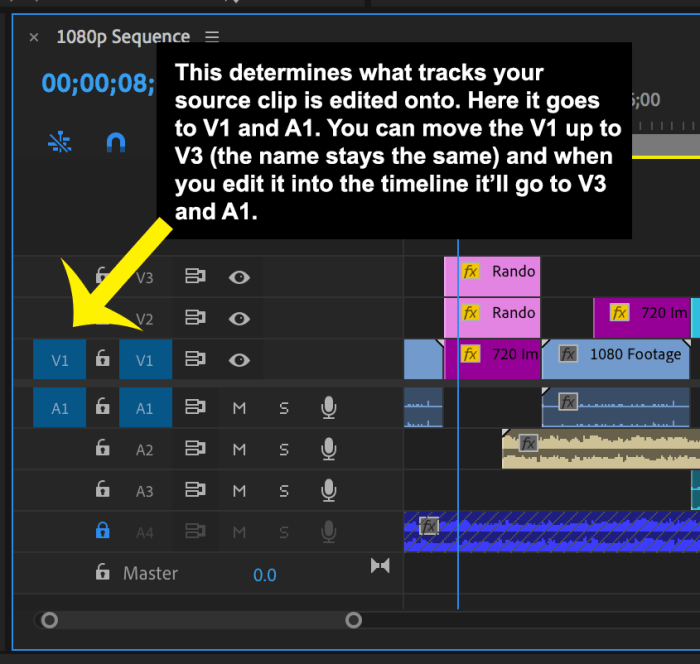 Timeline in Premiere Pro showing how to patch tracks to perform an edit