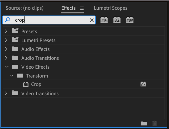 Effects Panel in Premiere Pro with crop typed into the search field