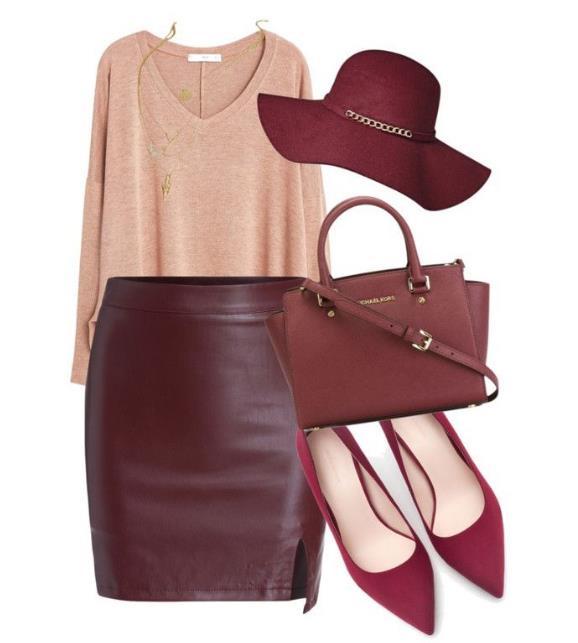 4d2214db258f Διάλεξε μια μίντι φούστα σε έντονο κόκκινο η μπορντό χρώμα. Διάλεξε αν θα  είναι στενή ή σε γραμμή άλφα ανάλογα με το τι σου πηγαίνει.