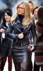 jennifer aniston black dermatino jacket