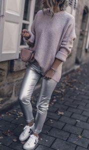 ασημί παντελόνι πλεκτό πουλόβερ