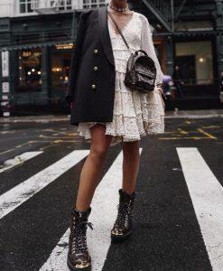 αρβυλάκι άσπρο φόρεμα βολάν