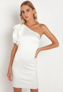 mini φόρεμα με άνοιγμα στον ώμο