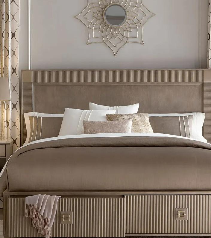 μικρό υπνοδωμάτιο με κρεββάτι με συρτάρια