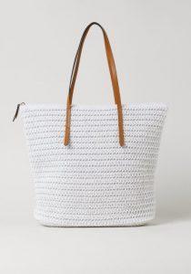 άσπρη ψάθινη τσάντα