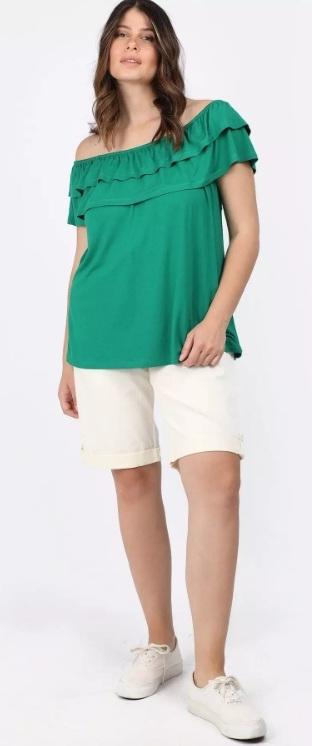 πράσινη κοντομάνικη μπλούζα έξω ώμους