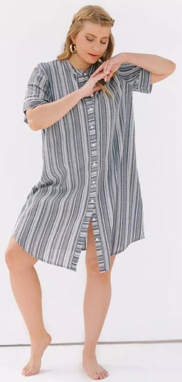 σεμιζιέ κοντομάνικο φόρεμα πουκάμισο
