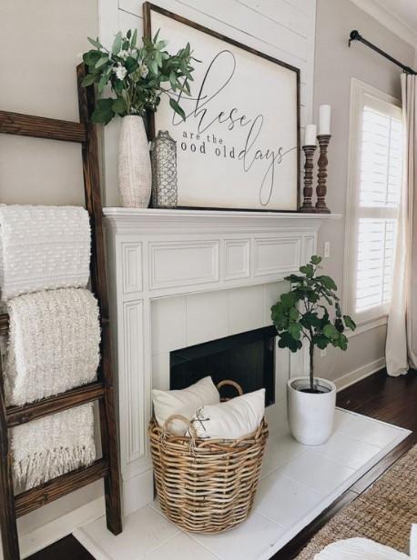 τζάκι καλάθια μαξιλάρια διακοσμήσεις καλάθια