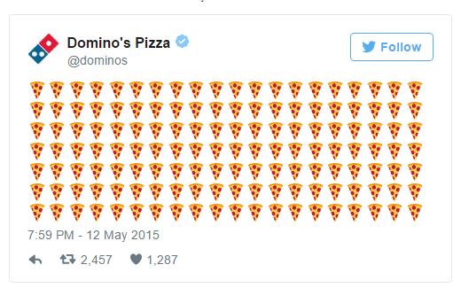Emojis na comunicação da Domino's