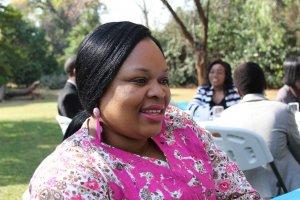 Sally Dura, Director of Women's Coalition of Zimbabwe, mentored ZCC Intern Irene Mapfunde.