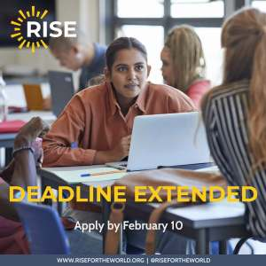 """Image of Girl on laptop with text """"Deadline extended, apply by February 10"""""""