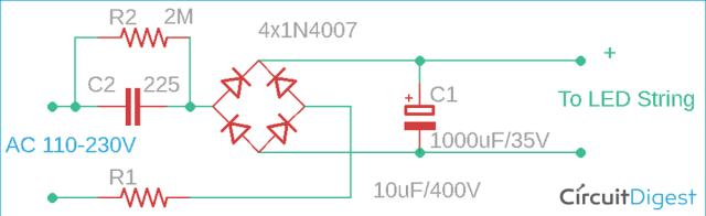 Diagramma del circuito AC to DC