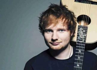 Ed Sheeran portrait holding acoustic guitar