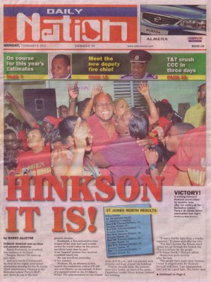 Hinkson It Is - 2012-02-06 Daily Nation Cover Page