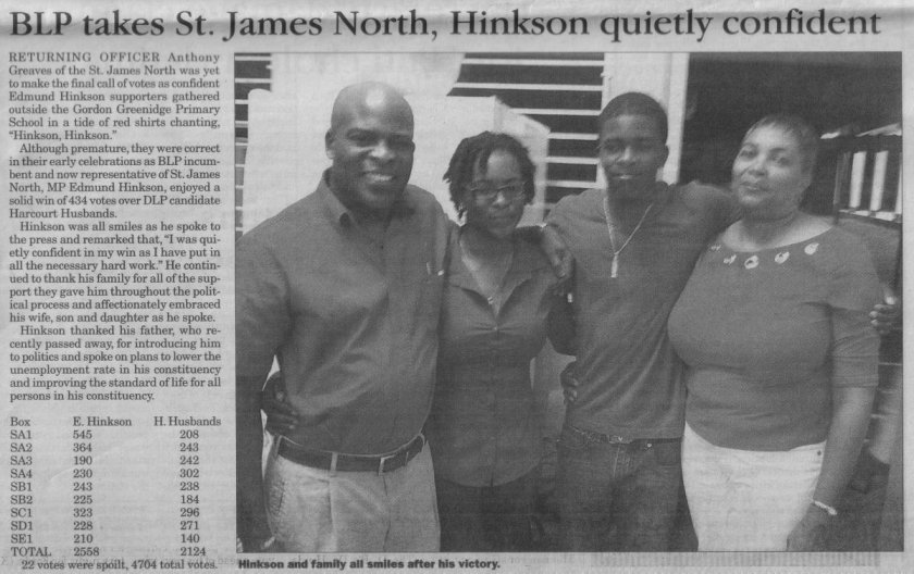 BLP takes St. James North, Hinkson quietly confident - 2013-02-22 - Barbados Advocate