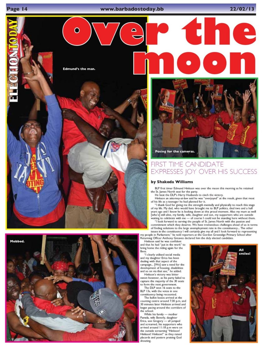 Over the moon - 2013-02-22 - Barbados Today - Page 14