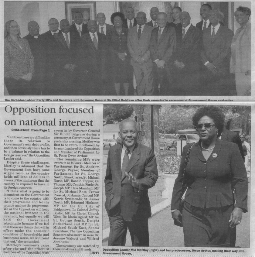 Opposition focused on national interest - 2013-03-05 - The Barbados Advocate - Page 4